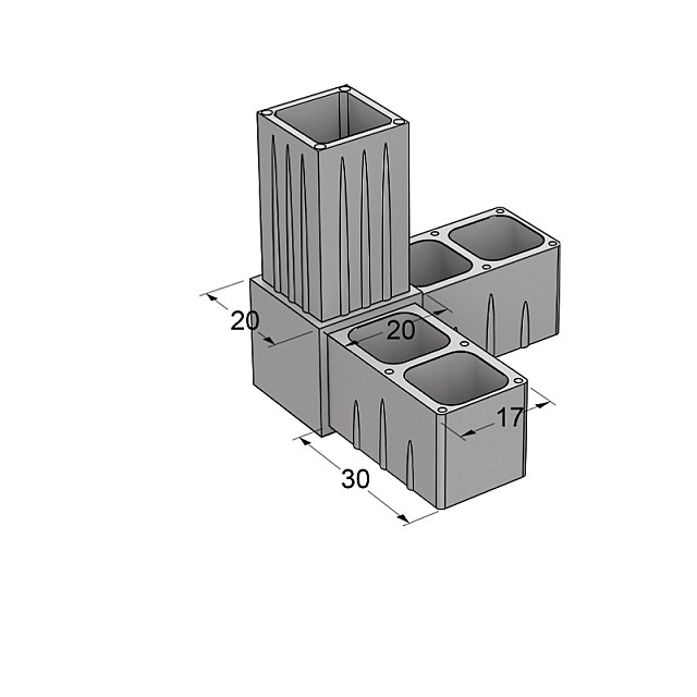 L TYPE 3 WAY CONNECTOR 20x20, GREY